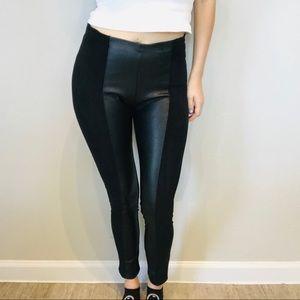 Anthro La fee verte faux suede & leather leggings